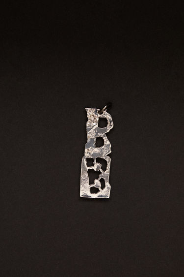 Acne Studios silver pendant is crafted from a hammered silver-tone brass and features a stencil of the letter 'B'  The pendant can be personalised with a chain necklace.