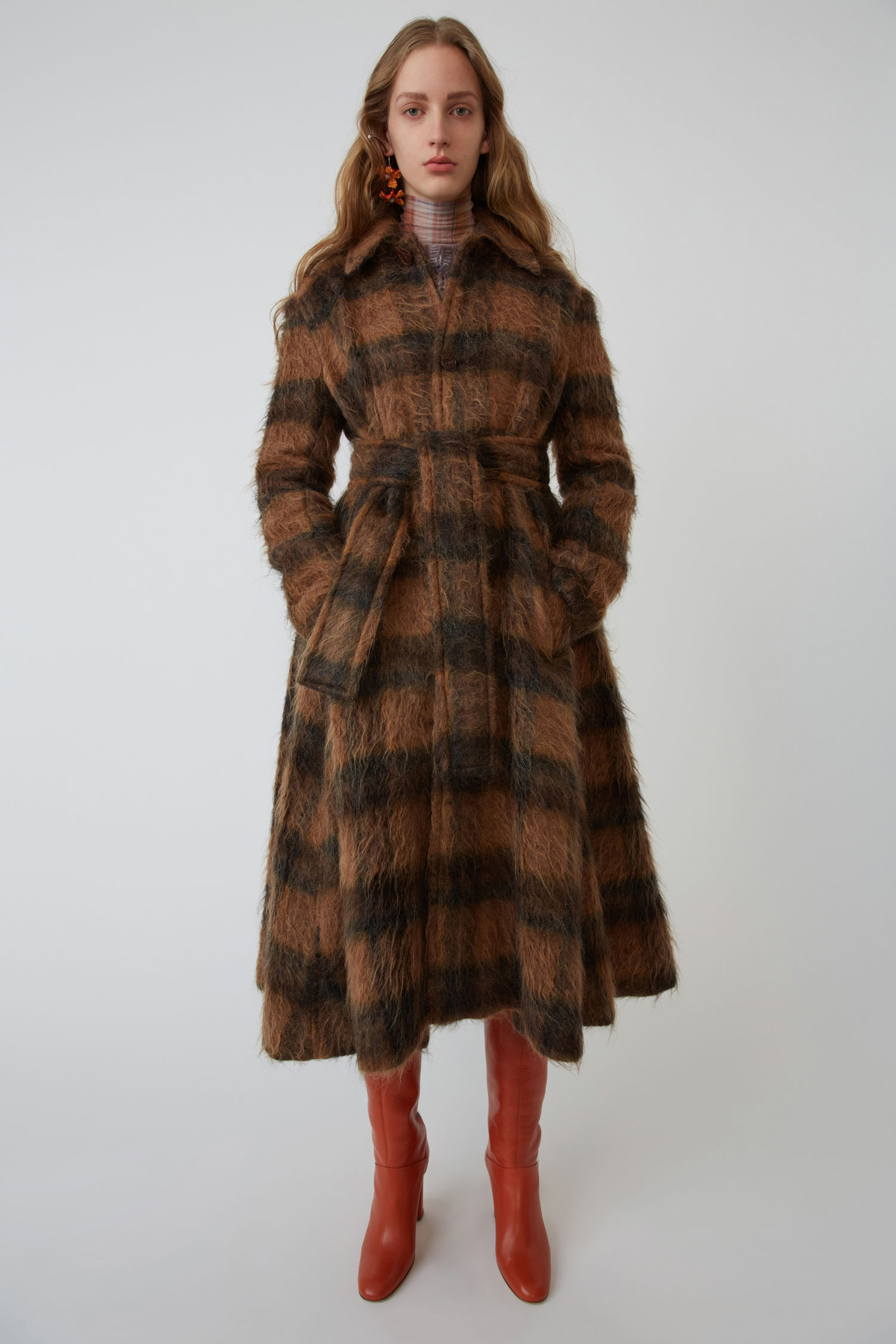 Checked coat camel/brown