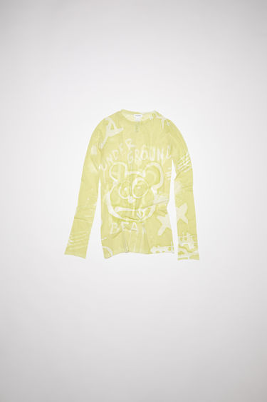 Acne Studios lemon yellow long sleeve crew neck t-shirt is made of nylon with an all over print.