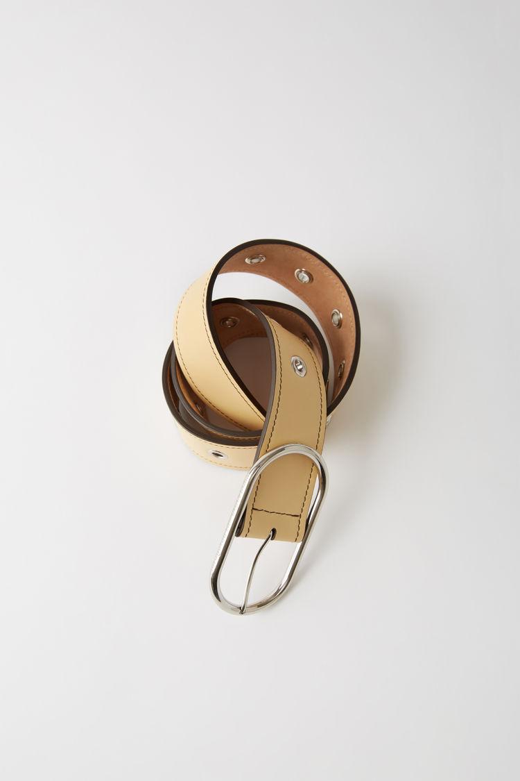 Leather Eyelet Belt Vanilla Yellow by Acne Studios