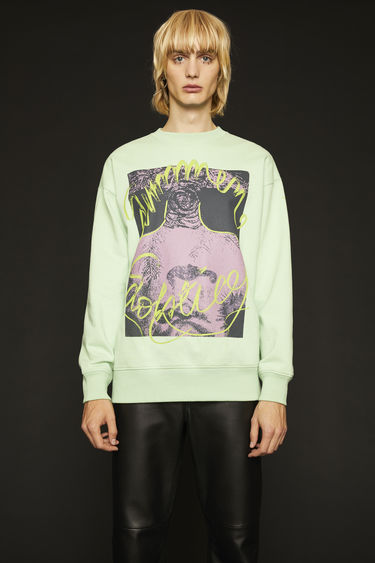 Acne Studios pale green sweatshirt is crafted from loopback jersey to an oversized fit and printed 'Summer Solstice' in a handwritten-style.