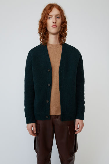 Acne Studios bottle green cardigan is shaped to a relaxed fit with dropped shoulder seams.
