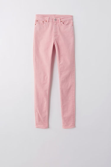 Acne Studios Blå Konst Peg milky pink jeans are crafted with super-stretch denim and shaped to a skinny fit with a high-rise waist.