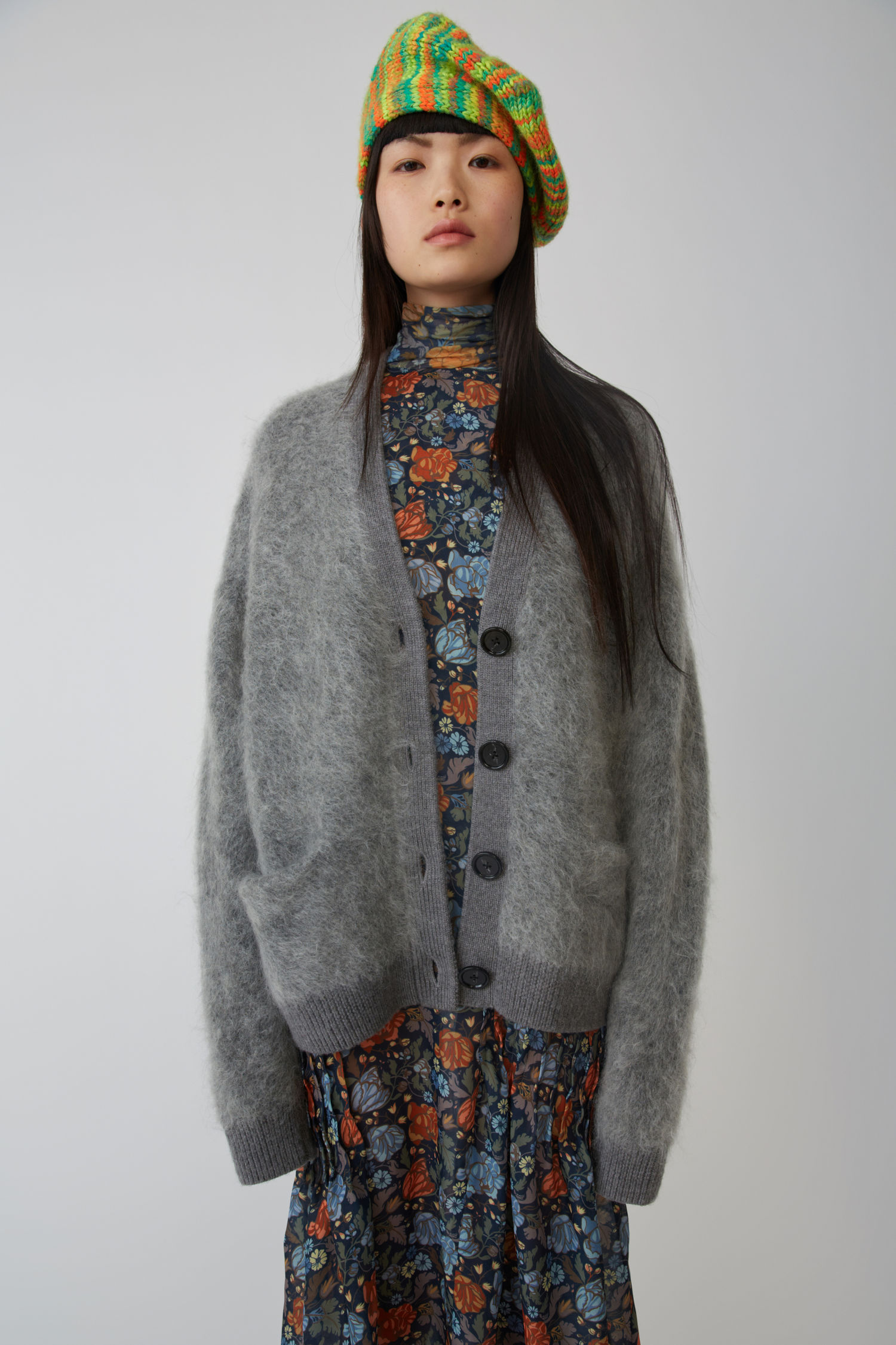 Fluffy Mohair Cardigan Grey Melange