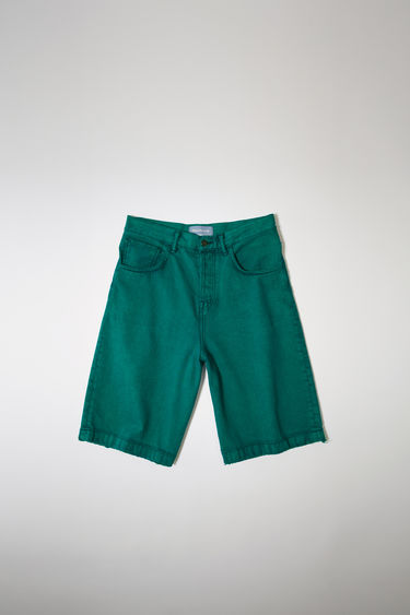 Acne Studios launches an exclusive capsule with NBA basketball player Russell Westbrook. As part of the capsule collection, these jade green denim shorts are cut to sit high on the waist with a straight-leg fit and finished with a classic five-pocket construction.