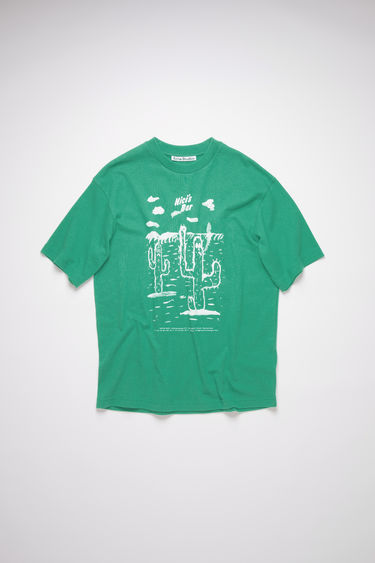 Acne Studios emerald green crew neck t-shirt is made of cotton, featuring a Beni Bischof© print.