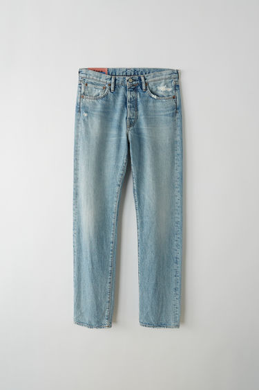 Acne Studios Blå Konst 1996 marble wash indigo jeans are cut to sit high on the waist with a straight fit from the hips and finished with a classic five-pocket construction.