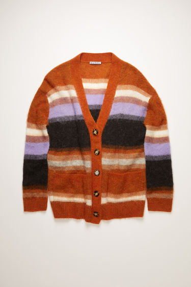 Acne Studios pumpkin orange/multi cardigan is knitted from alpaca and wool-blend and features a multicoloured stripe pattern. It has a relaxed silhouette with a deep V-neck and dropped shoulders, then framed with ribbed edges.