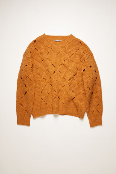 Acne Studios cognac brown argyle sweater is knitted from soft lambswool with a ribbed pattern and features fully-fashioned diagonal slits throughout the body.