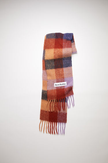 Acne Studios brown/lilac/navy checked scarf is spun from alpaca, wool and mohair yarns to a wide dimension and features a stitched logo patch above the fringed edges.