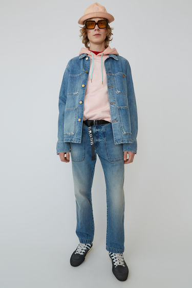 Acne Studios Blå Konst Albyr Mid Ripped indigo is a loose-fitting denim jacket with large patch pockets.