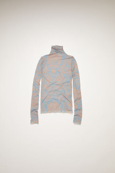 Acne Studios mineral blue/peach orange roll-neck top is crafted from semi-sheer stretch fabric to a second-skin fit and is patterned with a floral print.