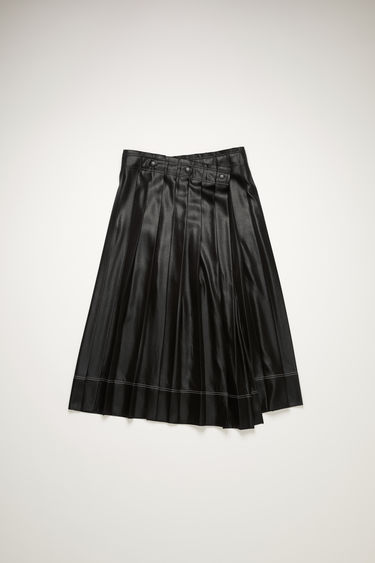 Acne Studios black skirt is made from lightly-creased satin that's pressed into sharp knife pleats with a wrap-over front and finished with contrasting stitching above the hem.