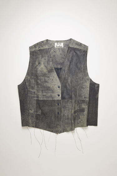 Acne Studios charcoal grey suede gilet is crafted to an oversized fit with welt pockets and a back adjuster and features hand-distressed abrasions for a well-worn effect.