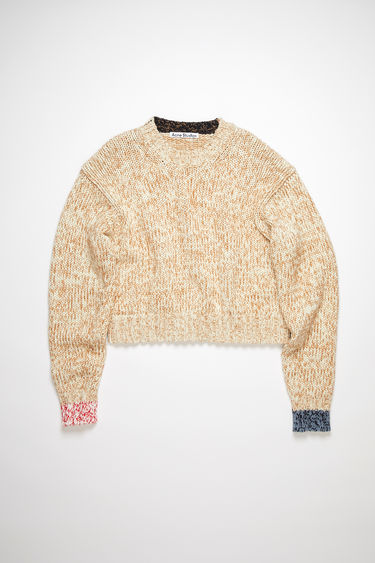 Acne Studios cream/camel crew neck sweater is made of a spongy knit cotton blend with a relaxed fit.