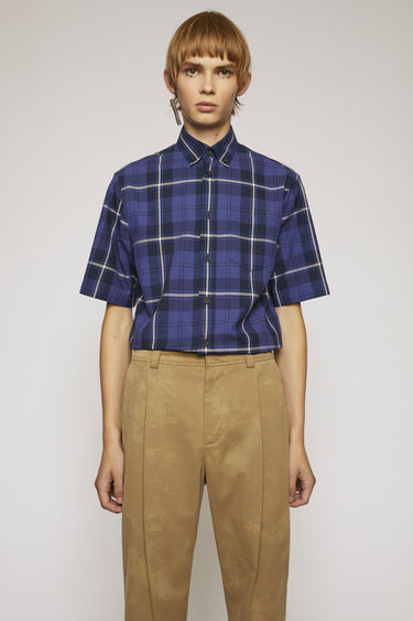 Acne Studios navy/pink shirt is crafted from lightweight cotton with a waffle check pattern and shaped to a boxy fit with short sleeves.