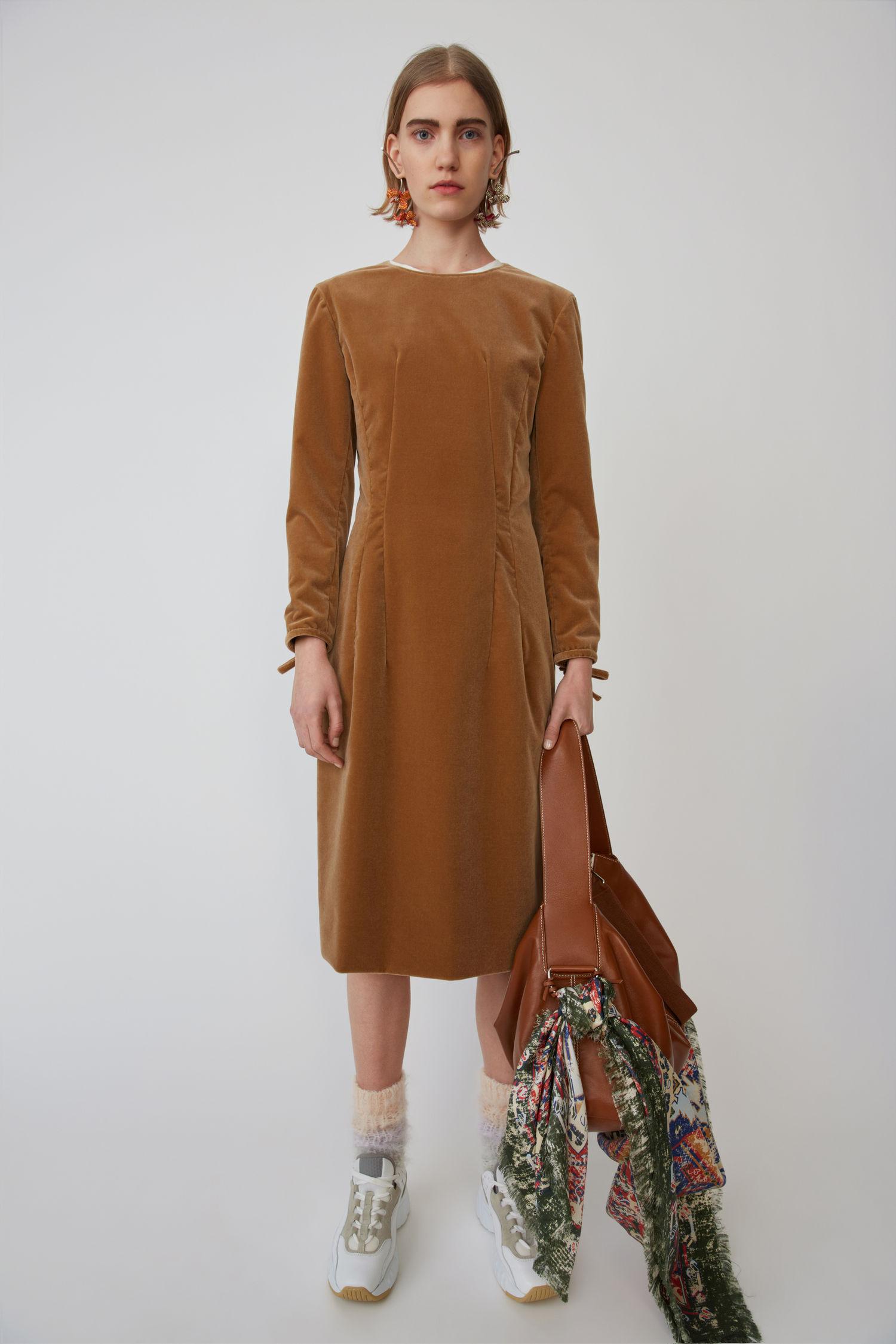 ACNE STUDIOS Velvet dress camel brown