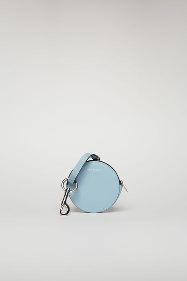 Acne Studios light blue/black coin purse is crafted from smooth leather and comes equipped with a lobster clasp that can be attached to bags and belt loops.