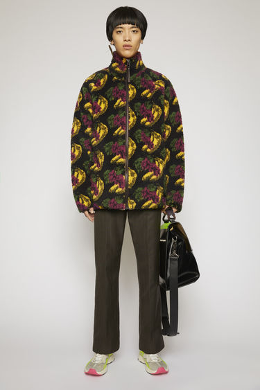 Acne Studios black zip-up jacket is crafted from soft fleece accented with a fruit pattern then finished with a funnel neck and a branded leather zip puller.