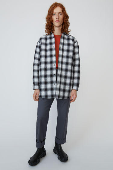 Acne Studios black/white quilted, oversized overshirt in a shadow check design.