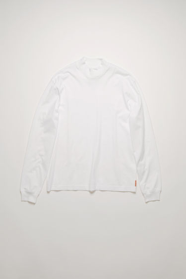 Acne Studios optic white t-shirt is crafted from organically grown cotton that's enzyme-washed for a soft handle and shaped to a relaxed fit with a ribbed mock neck and long sleeves.
