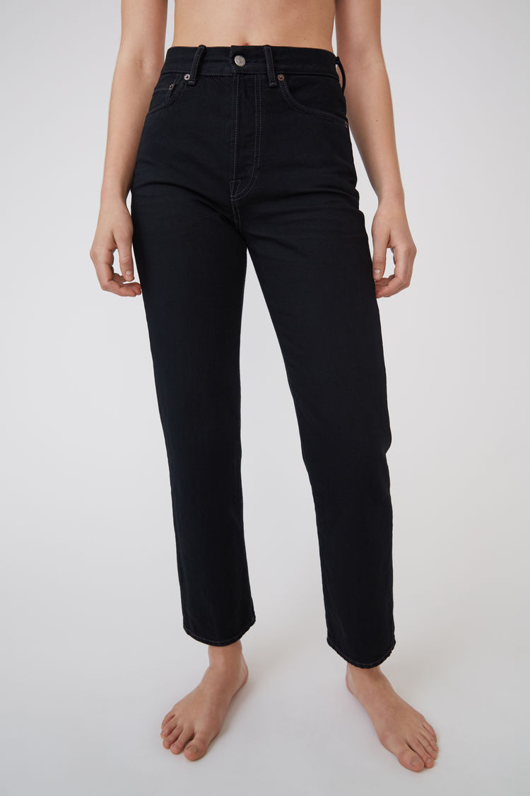 Cropped Straight Fit Jeans Black by Acne Studios