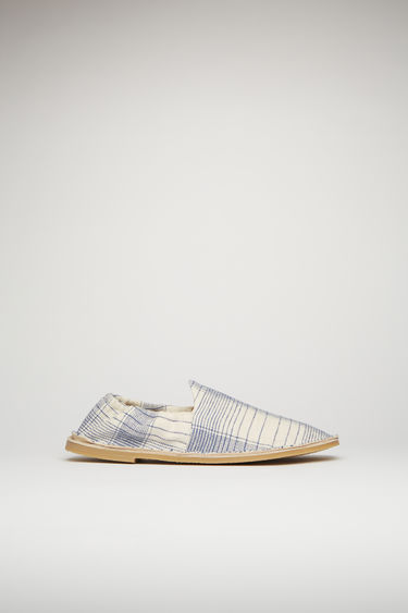 Acne Studios beige/blue loafers are crafted from a checked linen-blend to a square toe silhouette and set on a crepe rubber sole with elasticated cuffs for optimum comfort.