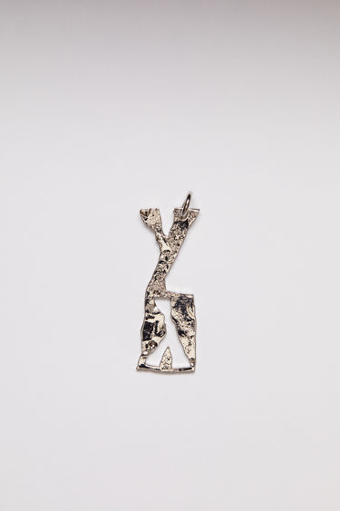 Acne Studios pendant is crafted from a hammered silver-tone brass and features a stencil of the letter 'Y'  The pendant can be personalised with a chain necklace.