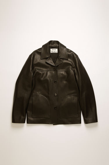 Acne Studios black shirt jacket is crafted from lamb leather and features notch lapels, button closure and two D-shaped patch pockets on the front.